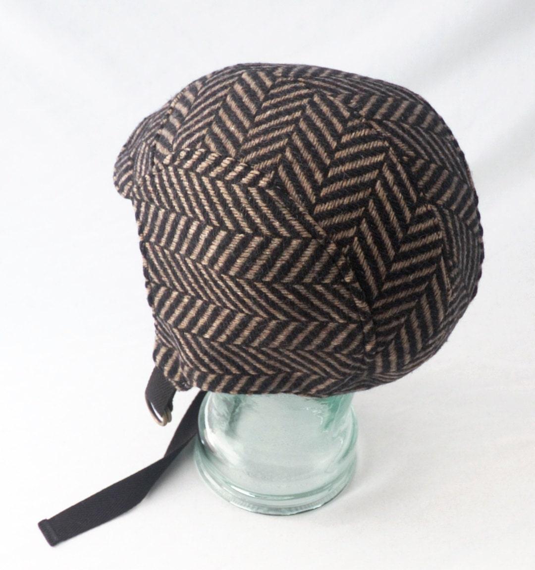 wool aviator hat black and brown herringbone by rocksandsalt