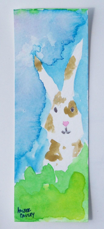 Handmade Watercolor Spring Brown Spot  Bunny Bookmark