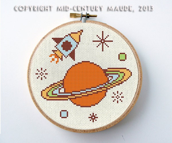 Outer space cross stitch pattern instant by midcenturymaude for Outer space pattern