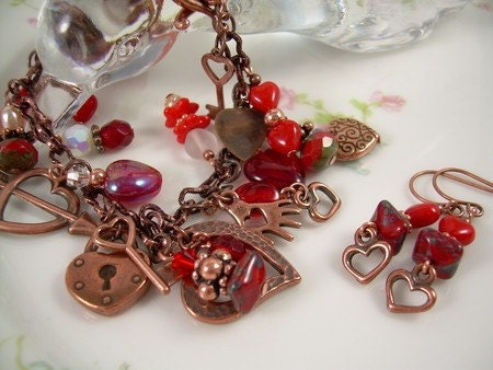 Hearts Of Love - Copper Charm Bracelet