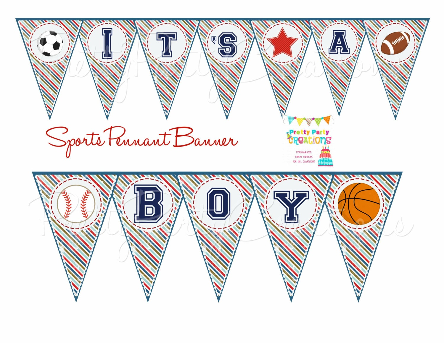 SPORTS pennant banner baby shower or by PrettyPartyCreations