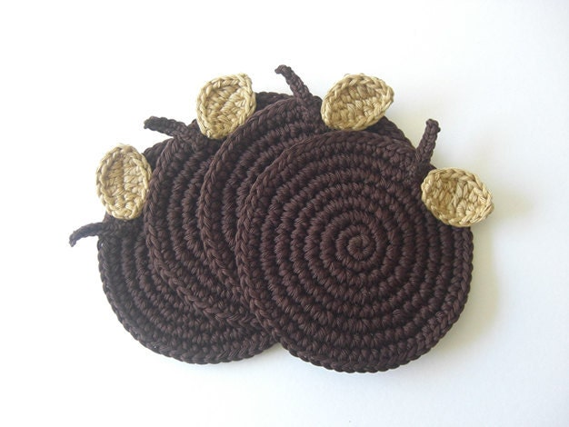 Brown Chocolate Apple Coasters . Cream Beverage Drink Leaves Beige Cocoa Syrup Coffee Tea Decor Crochet Fruit Collection - Set of 4