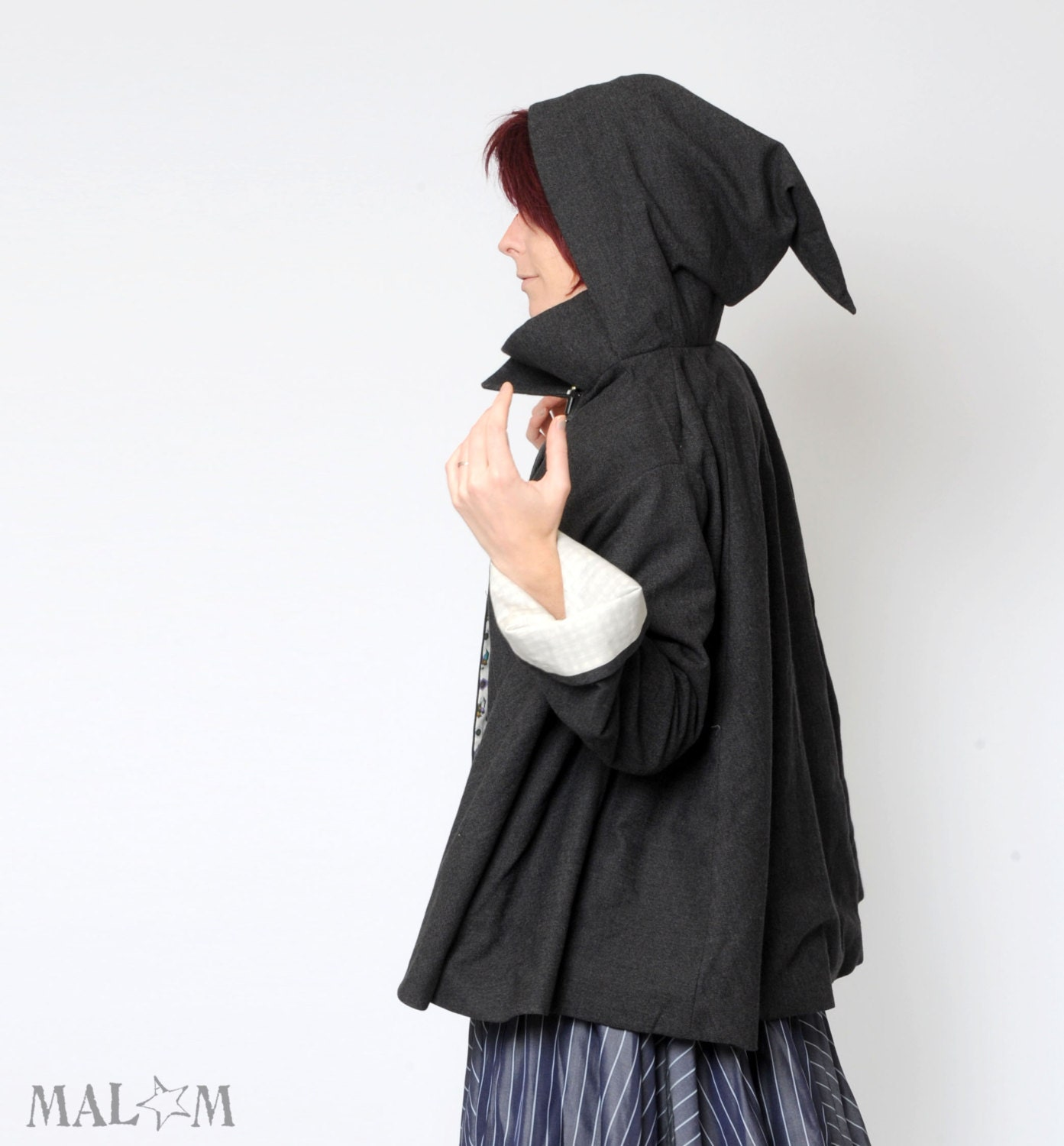Goblin Hood Cape with sleeves - Dark grey wool Cape - Fall fashion - sz M-L - Malam