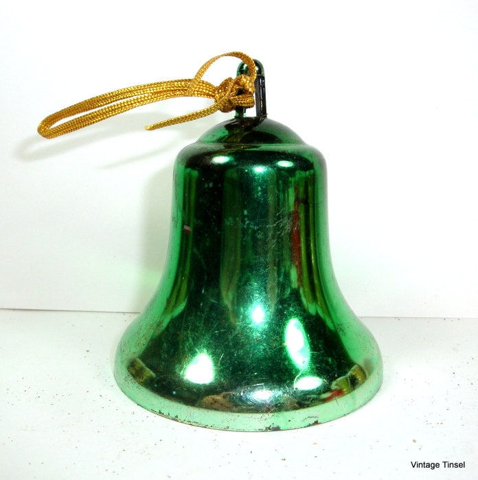 Vintage green bell christmas ornament mid century by