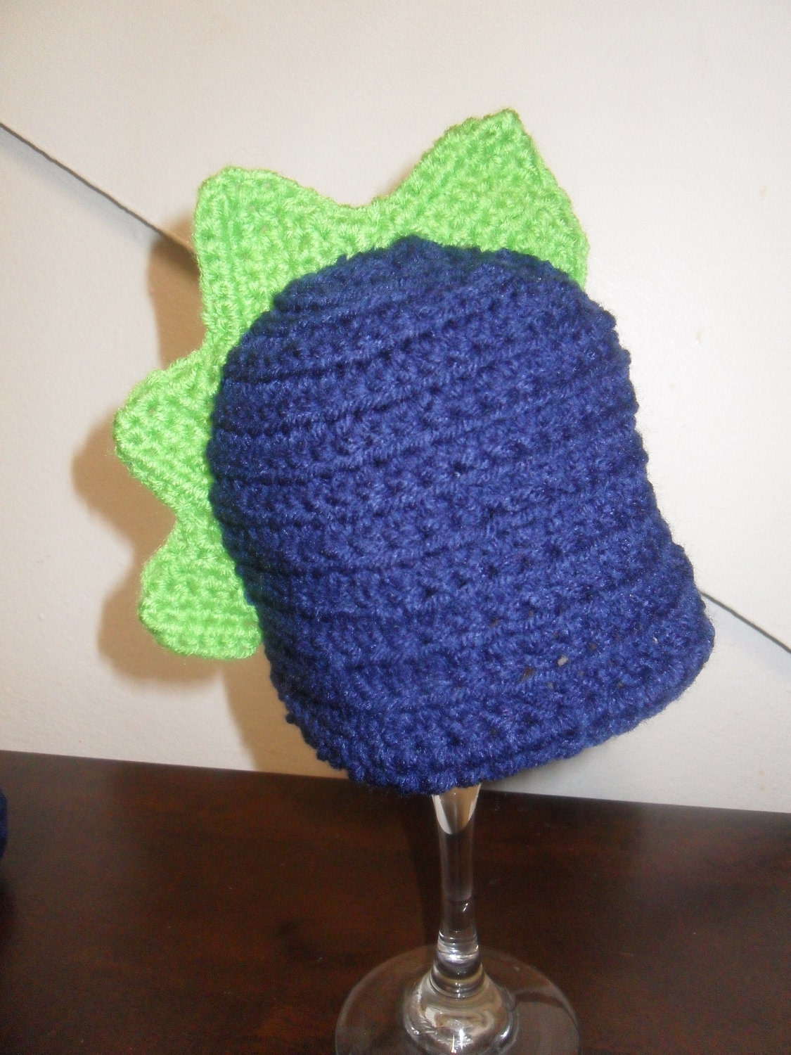 Navy and Neon Green 0-3 Month Dinosaur Baby Beanie