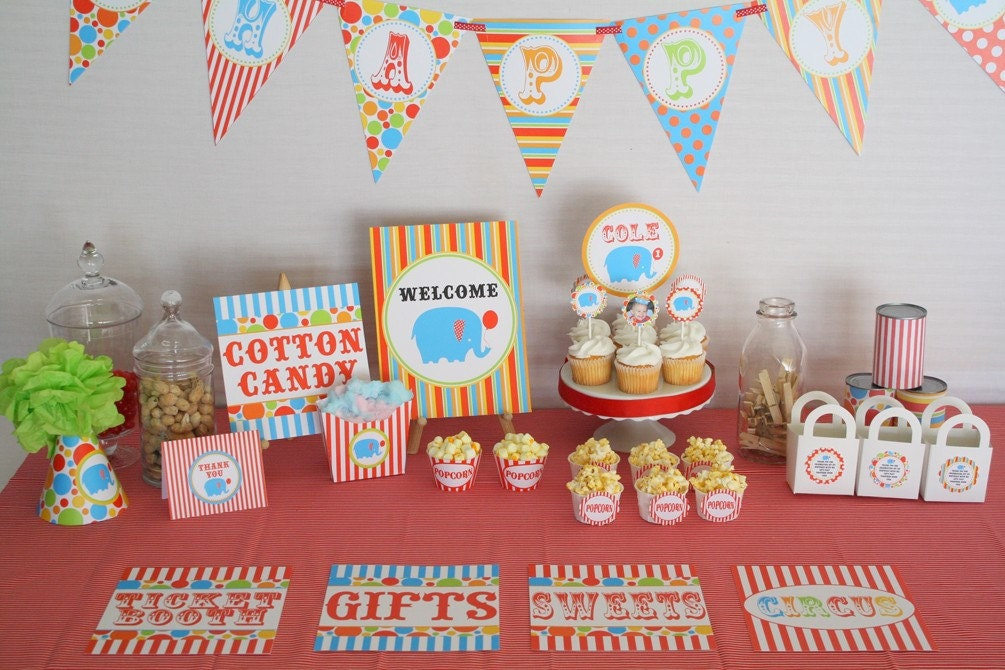 Under The Big Top...Printable Personalized Birthday Party Package...DIY..Includes custom invite and thank you..by DimplePrints