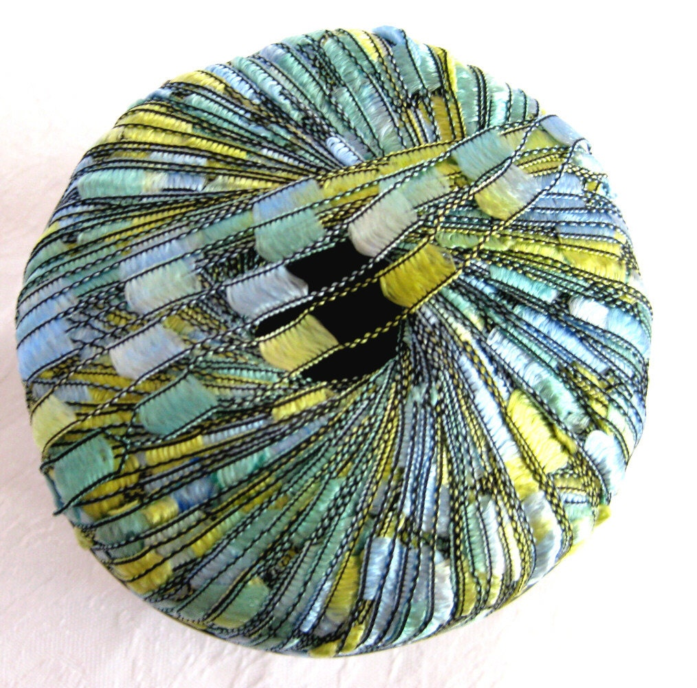 Ladder Ribbon Yarn SEASCAPE Aqua Blue Green Yellow By