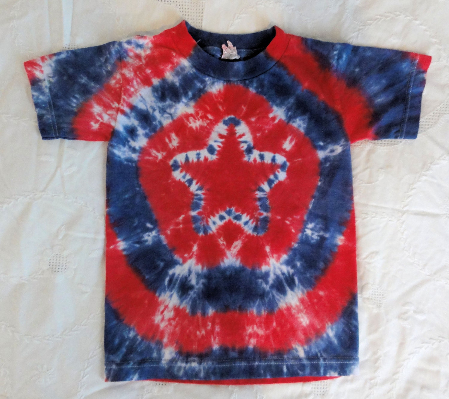 Red White And Blue Stars And Stripes Tie Dye Shirt By