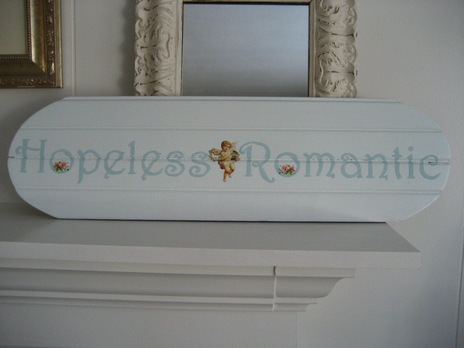 Vintage Beadboard Sign - Hopeless Romantic - Pale Aqua with Roses and Cherubs