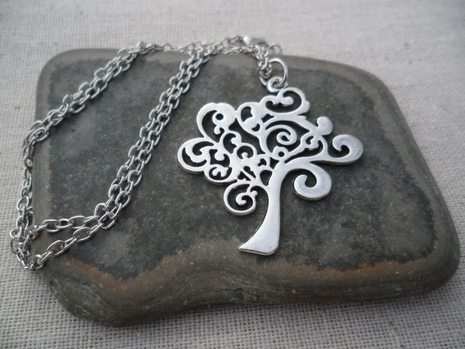 Whimsical Silver Tree Pendant - Tree of Life Jewelry - Silver Tree Necklace - TigerFlowerJewelry