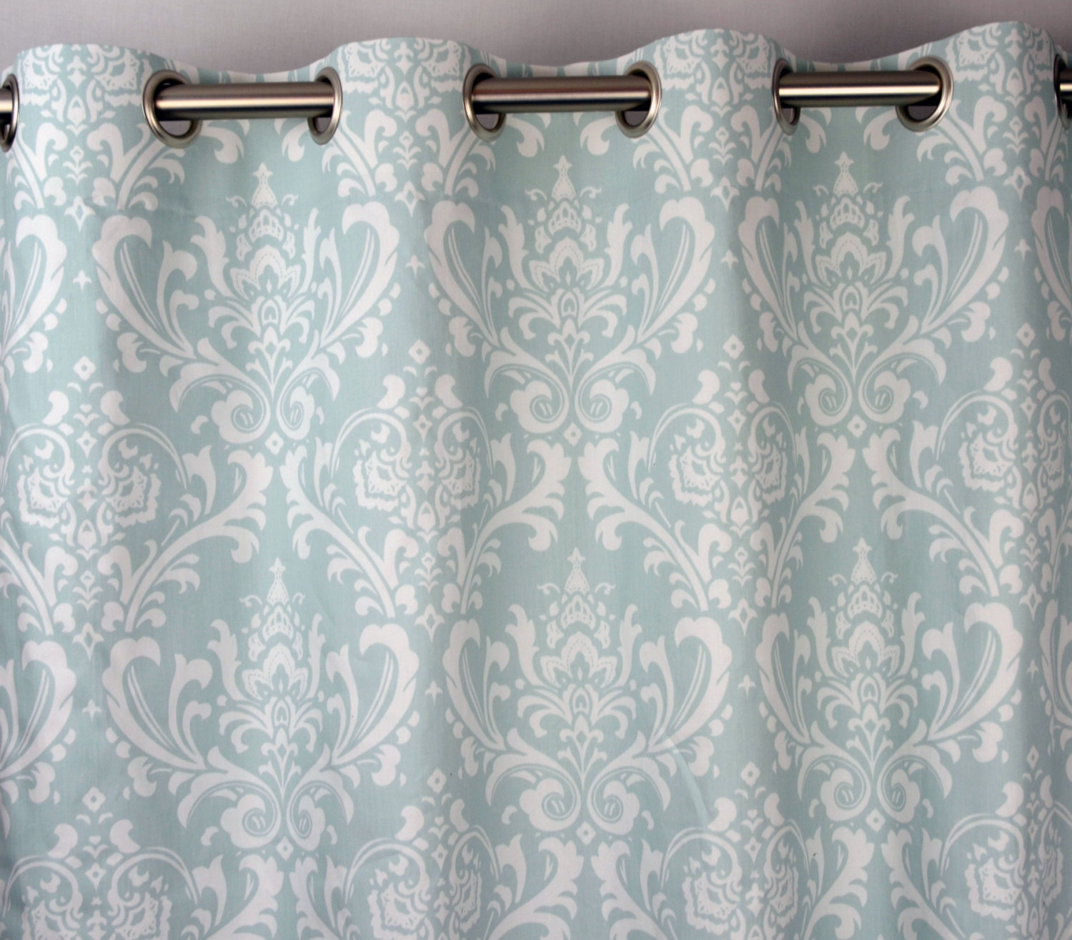 Pair of Grommet Top Curtains in Powder Blue and White Ozborne Damask ...