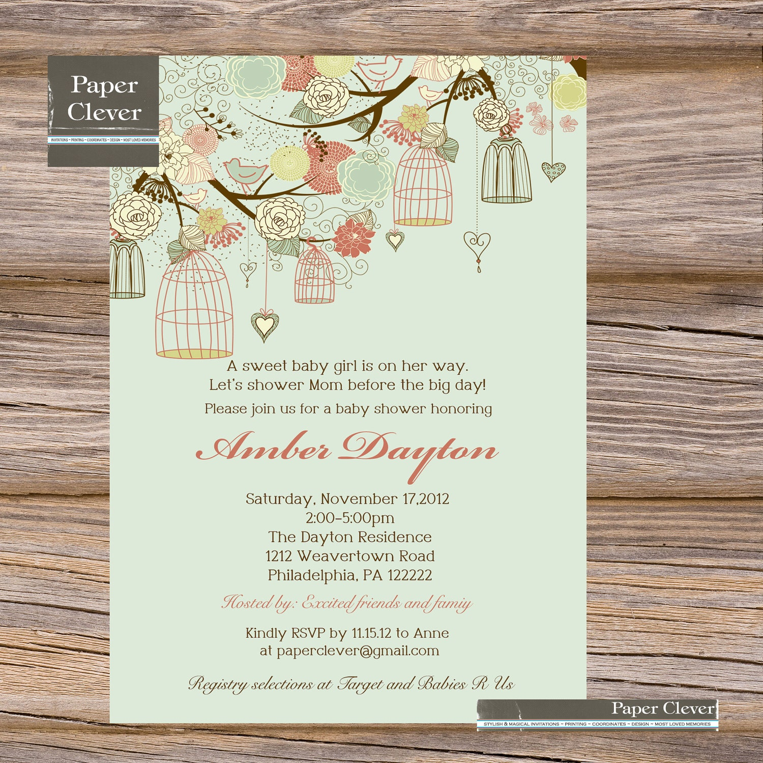 girls baby shower invitation shabby chic bird cage by paperclever