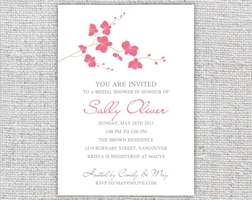 bridal shower invitation printable pink orchid flowers floral wedding ...