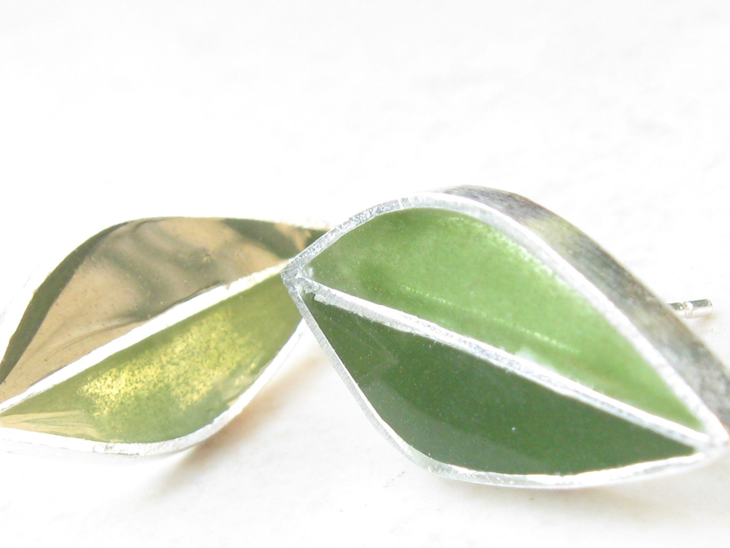 Olive Green Earrings Post Earrings Leaves Earrings Sterling Silver Earrings - jewelrybymichal