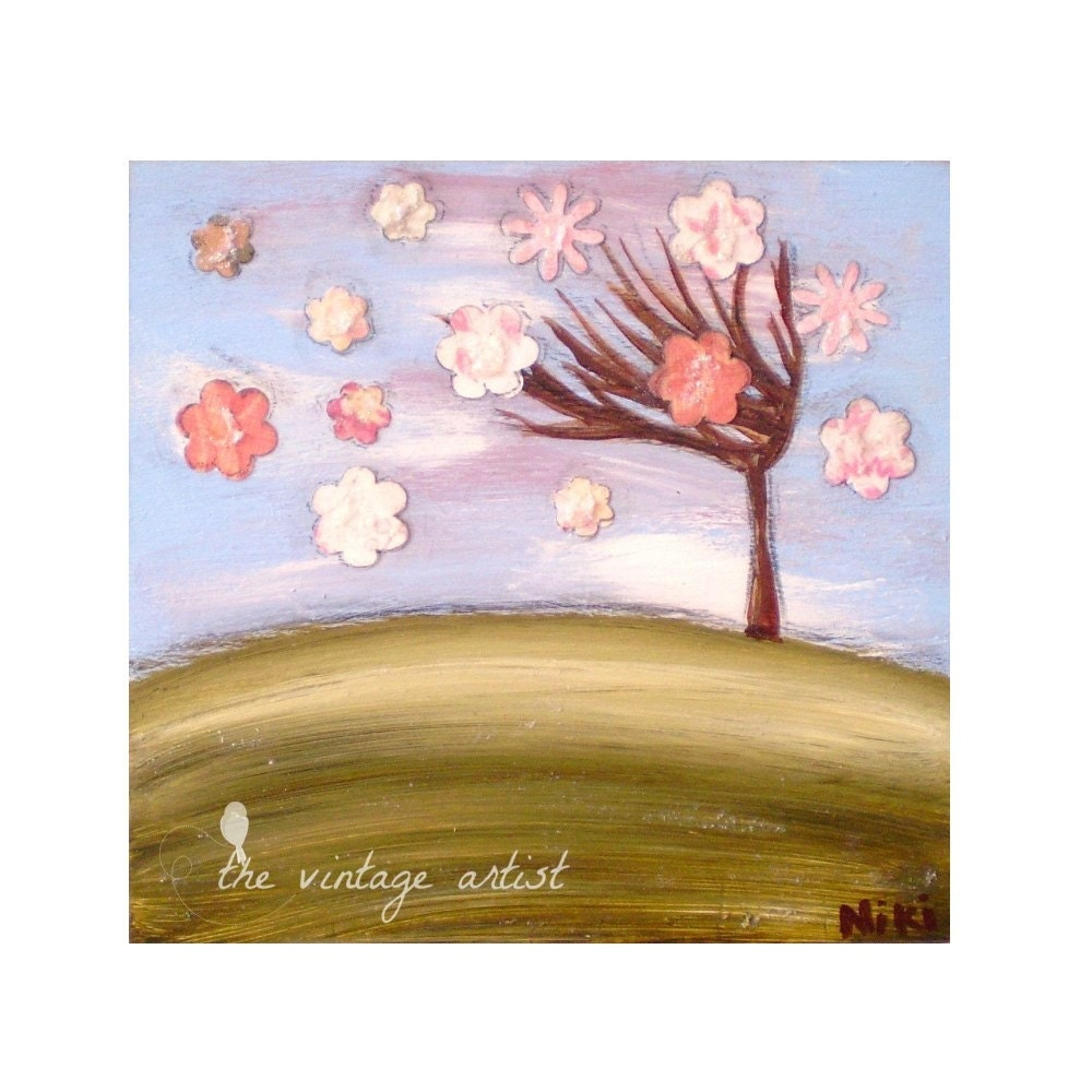 Cherry Blossom print - Spring Blossom - Kitchen Art 6 x 6 inches - TheVintageArtist