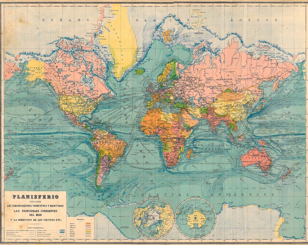 Antique World Map 1929 Very Large  Inches