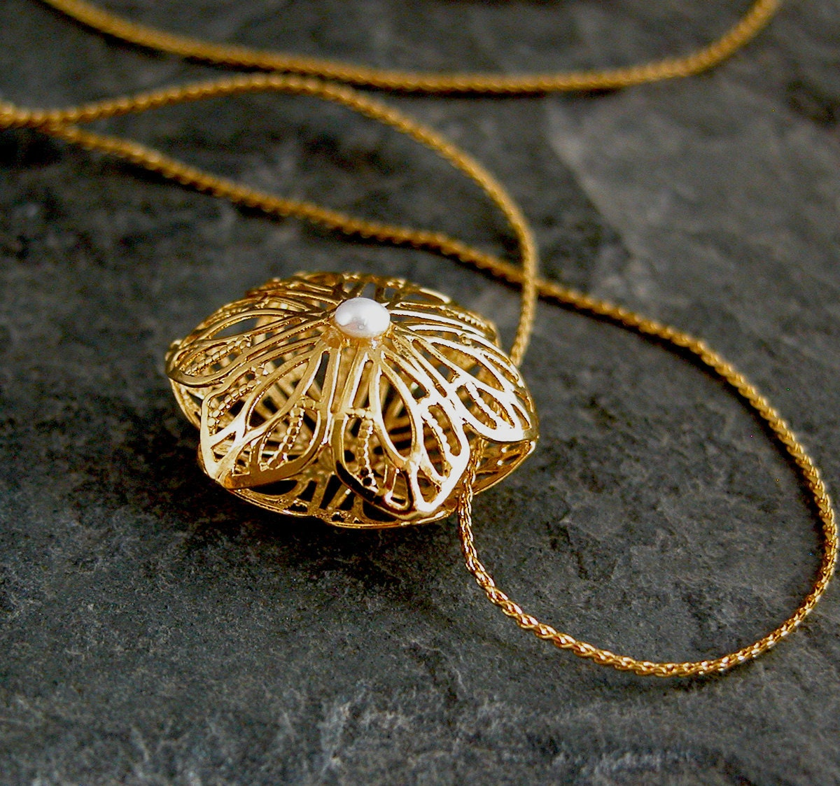 Lace Wedding Necklace  Threedimensional Gold by gazellejewelry