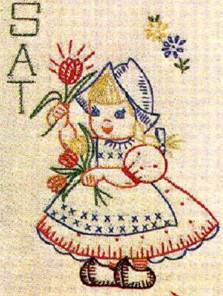 Hand embroidery pattern dutch girls for days by