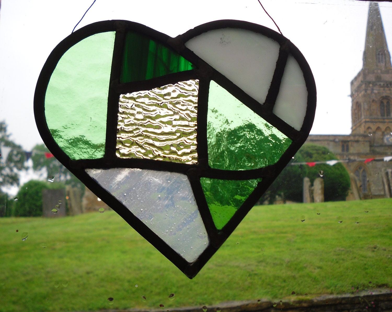 Heart Shaped Stained Glass Suncatcher - LavenderRoseCottage