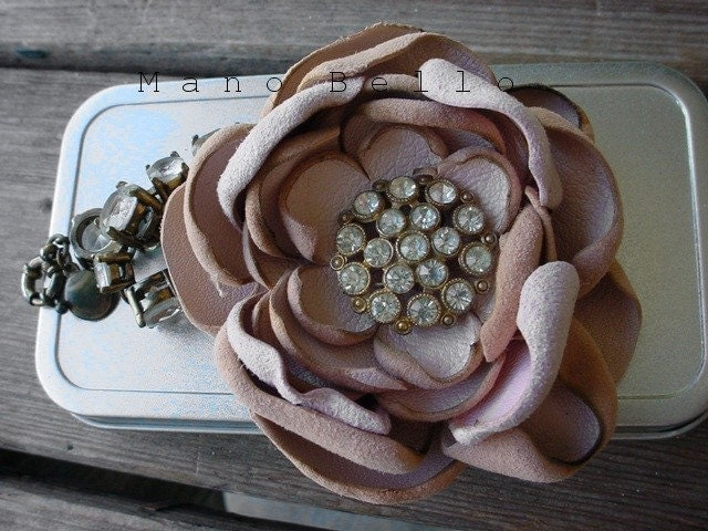 Romantic Pastel Leather Flower Brooch Antique rhinestones pink READY