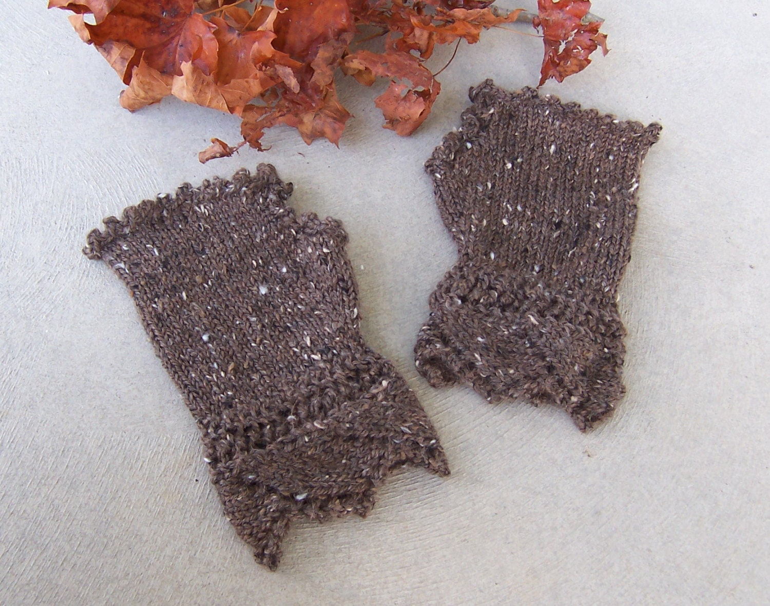 Fingerless Gloves Alpaca Wool Victorian Lace Design Fitted Style Holiday Gift for Her in Tabby Brown - GreenbriarCreations