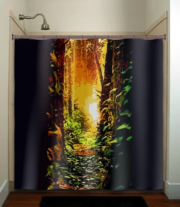 Items similar to forest path woodland tree shower curtain for Forest bathroom ideas