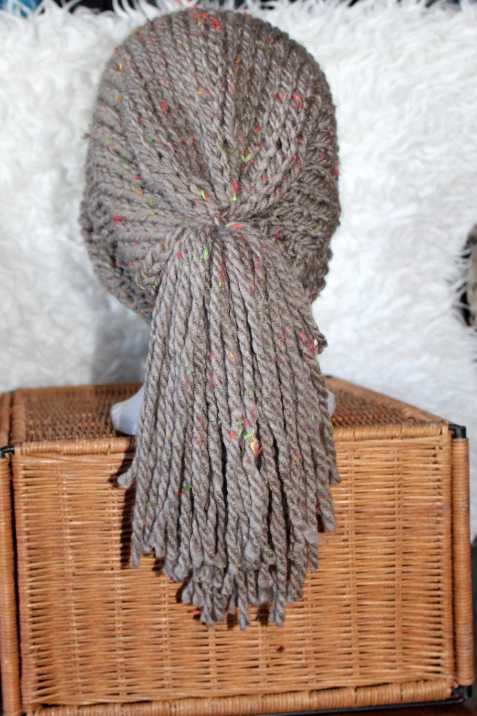 Slouchy beanie fringe  crochet hat knit beanie beige beanie skye hat hat grunge hat bohemian style boho hat KasiaSkye