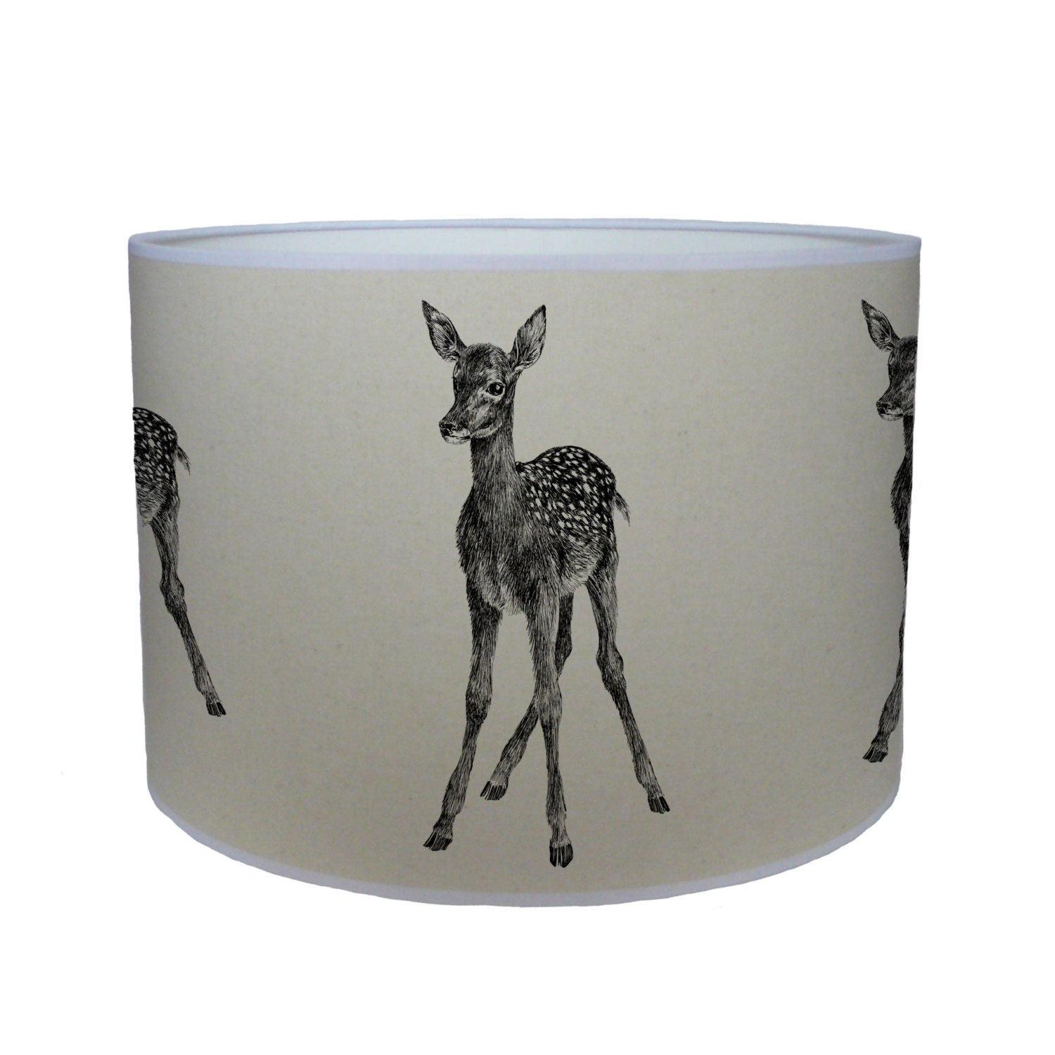 Deer shade lamp shade ceiling shade drum lampshade lighting  handmade home animal nursery