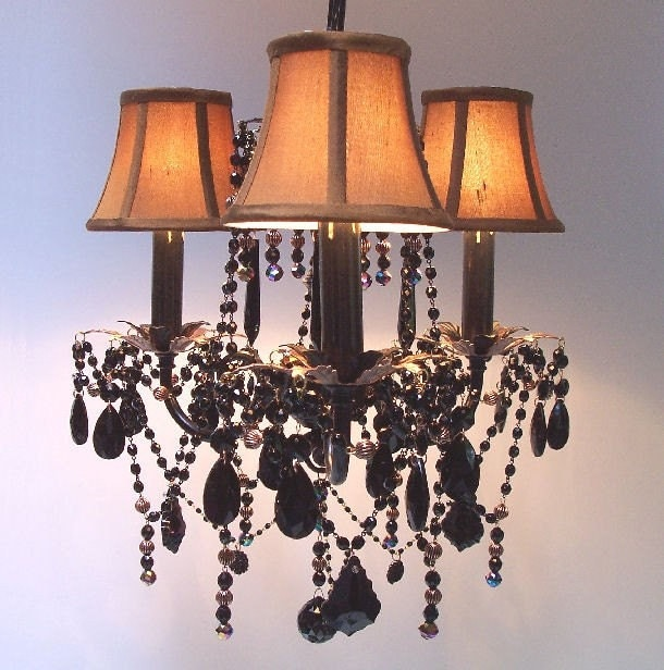 Custom Jeweled Jet Black and Copper Crystal Chandelier