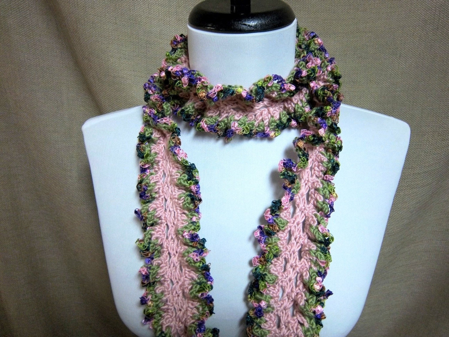pink and green fashion scarf by pflumsthumbs on etsy