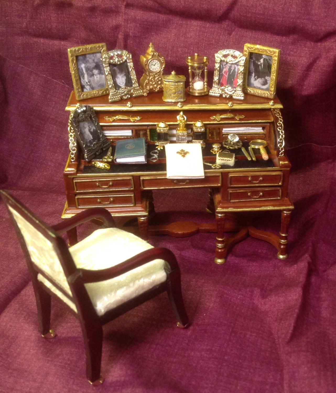 Dolls House Miniatures  Queen Elizabeth ll   Roll top desk   (OOAK)