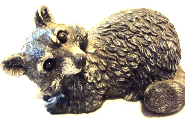 Raccoon Stone, Hand Cast, Hand Painted,  ooak finish - MountainArtCasting