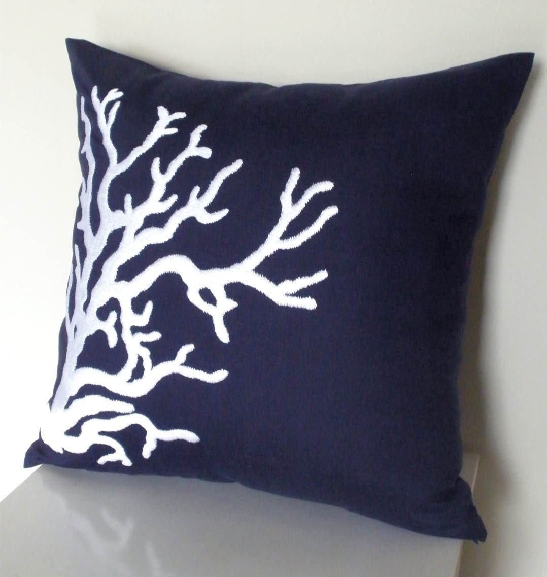 Navy Blue Linen with White Nautical Coral Embroidery Pillow Cover