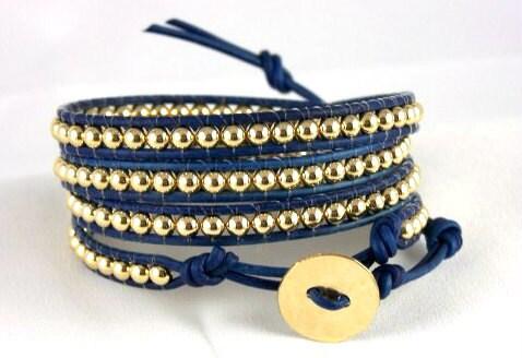 Leather Wrap Bracelet , 14K Gold Bracelet, Any Size, Any Color, Free Shipping Worldwide