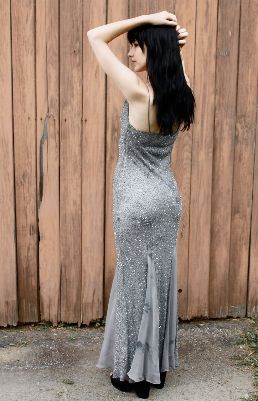 90s Maxi Dress / 100% Silk / xs - s small / mermaid ombre prom formal beaded tie dye smokey grey gray fitted - folkandfables