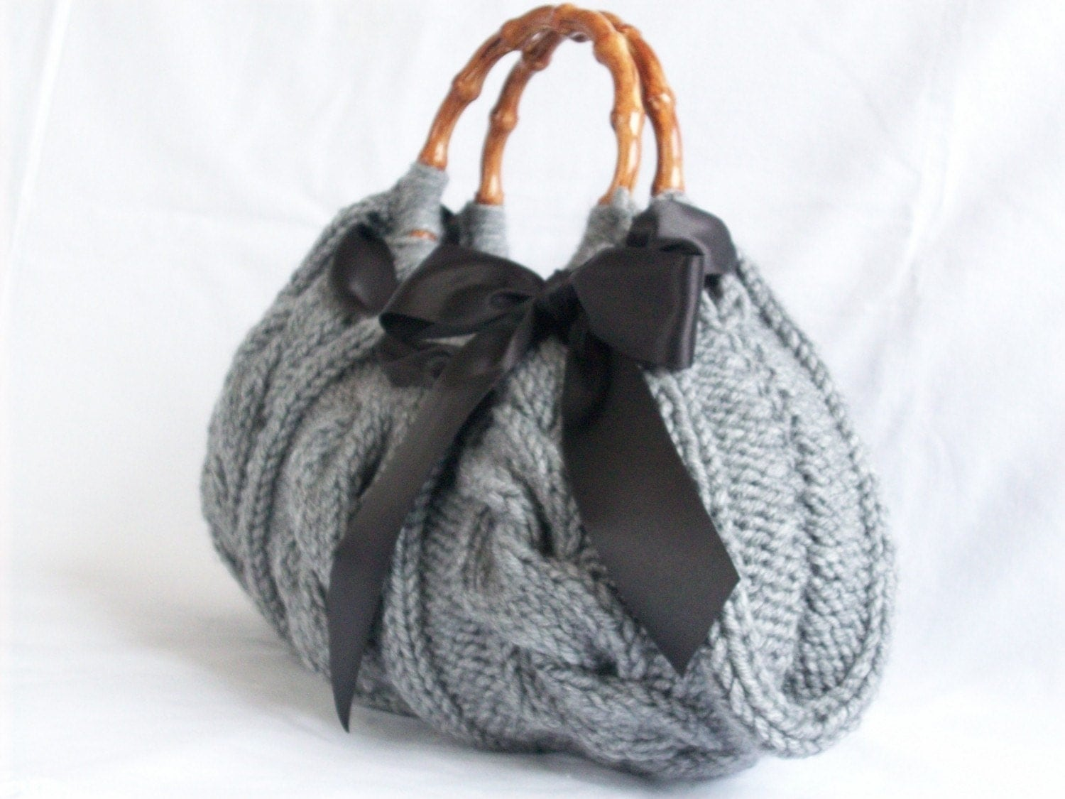 Handbag, Knitted Gray Bag Nr-046