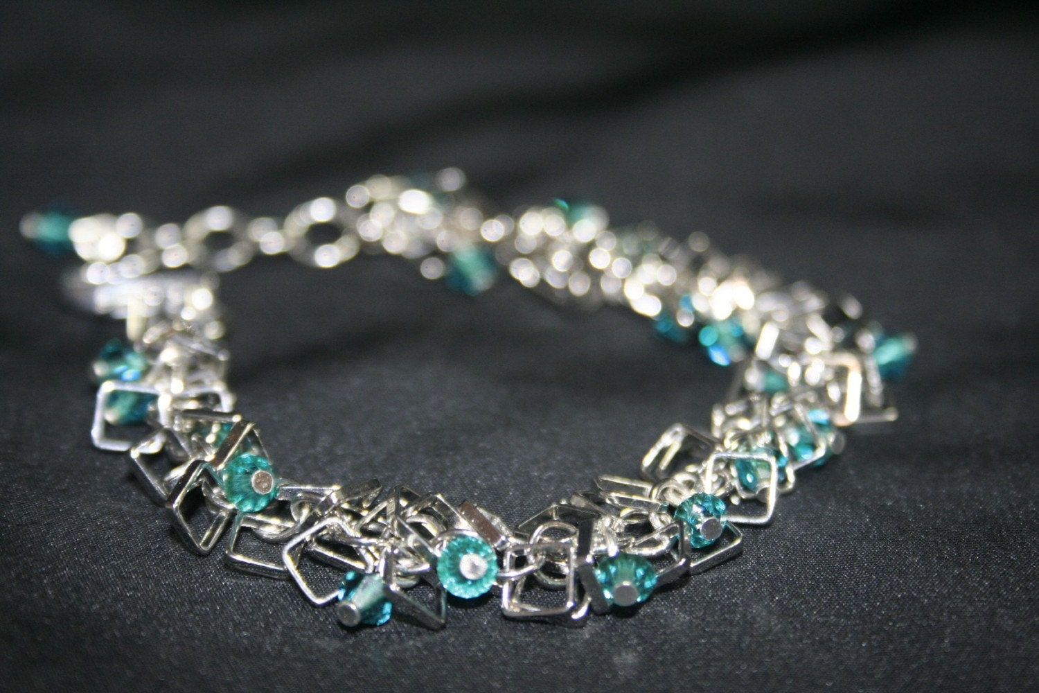 Silver Circles and Squares Charm Crystal Bracelet