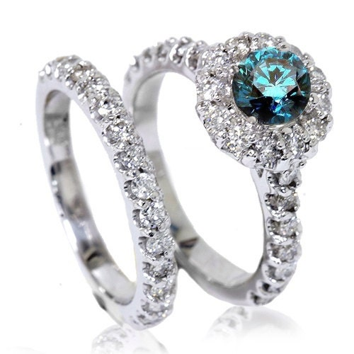1 85ct blue halo engagement matching wedding by