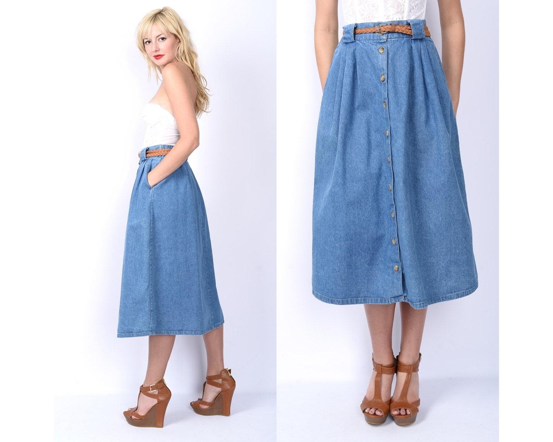 vintage 80s blue jean denim skirt dress pleated by