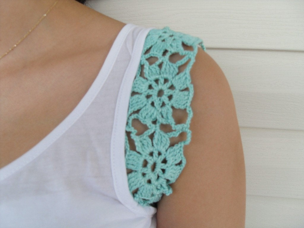 BOGO Sale Crocheted Mercerized Cotton Yarn Top, Blouse, Tunic, Gift For Her, White, Mint Green Soft Love