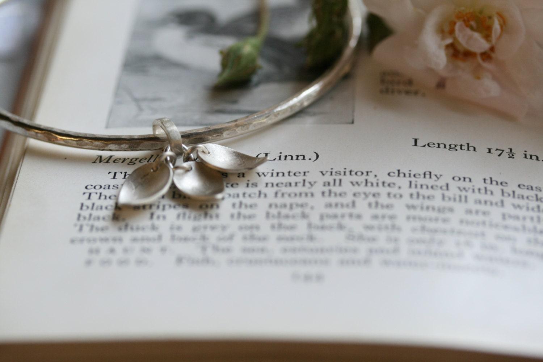 Sterling Silver hammered texture leaf bangle