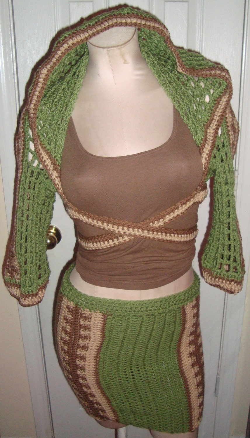 Wrapped Hooded Shrug w/ Matching Pencil Skirt
