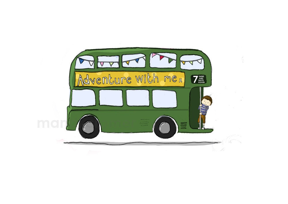 Green Retro Irish Bus Little Boy 'Adventure with me' Customisable Signed Print