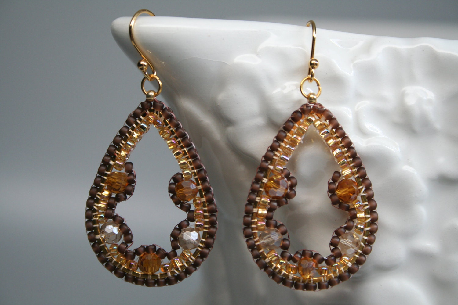 Golden Champagne Topaz Seed Bead Embroidered Mosaic Tear drops