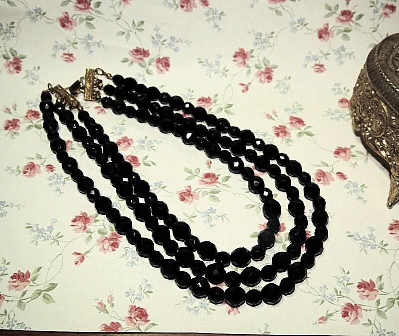 Vintage Jet Black 3 Strand Necklace, Faceted Black Glass Necklace, Vintage Jewelry, Three Strand Mourning Necklace