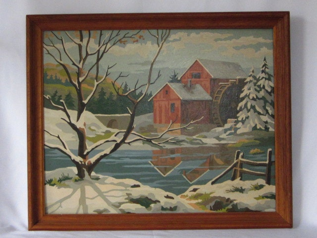 Vintage Paint By Number Painting, Winter Water Scene, 16x20