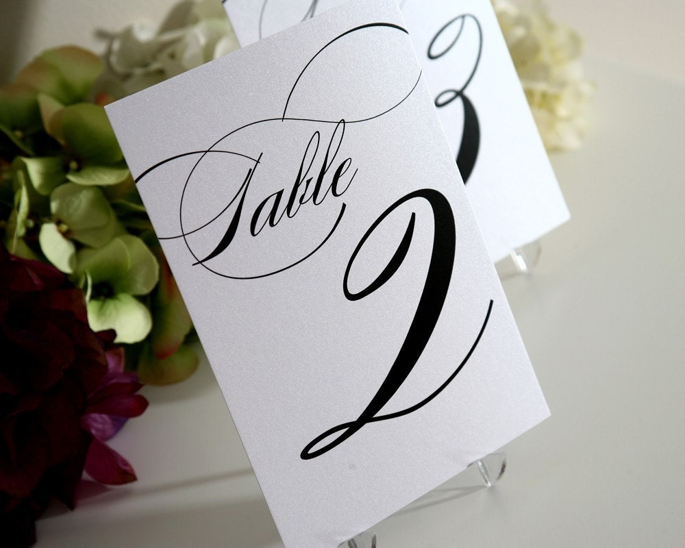 Table Numbers, Set of 15, Black Ink, Perfect for your Wedding, Event or Party