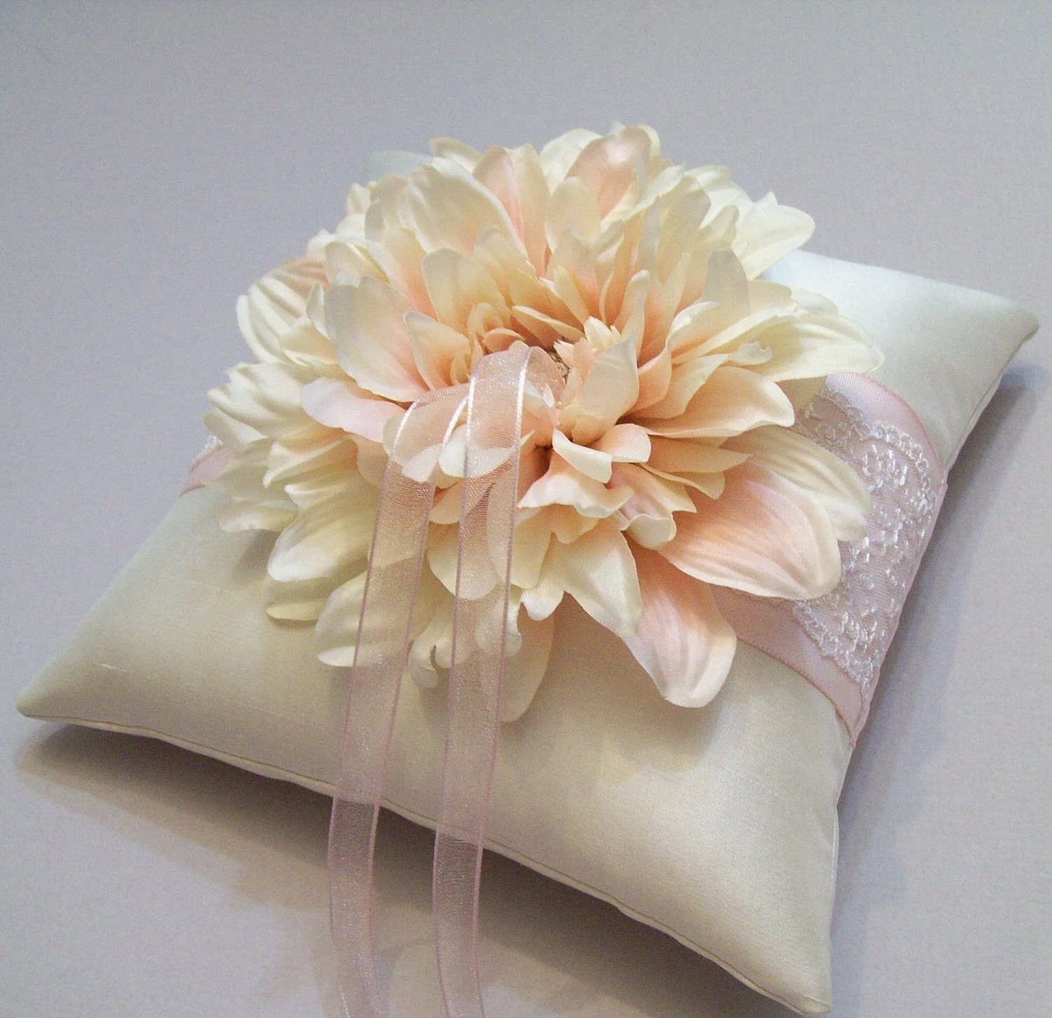 Blush Pink and Ivory Silk Ring Bearer Pillow