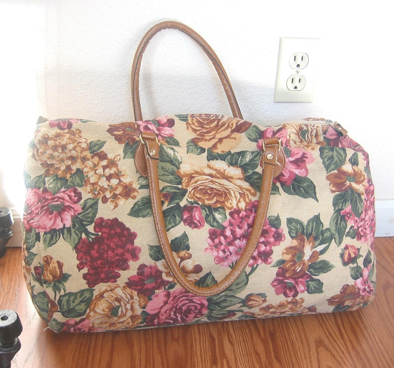 Vintage Duffel Bag / Floral Weekend Bag / Fabric By GazeboTree