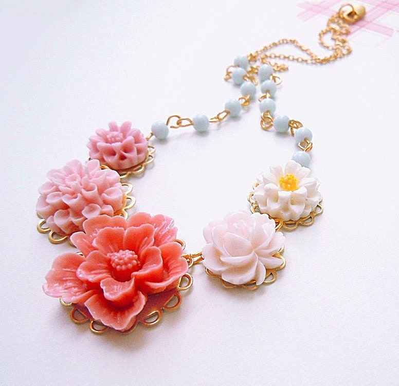 Blushing Embrace - Flower Necklace